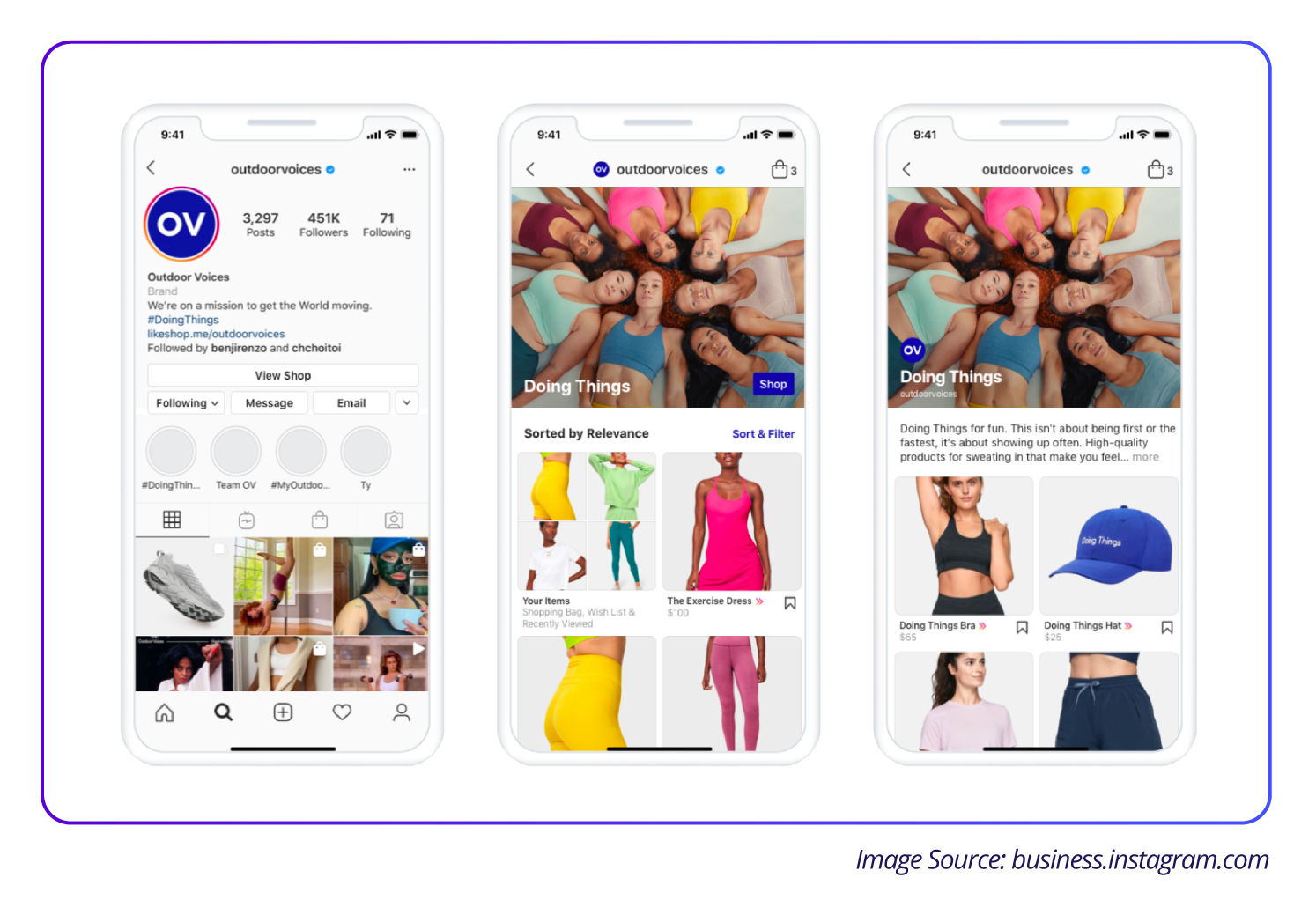 Image contains different ways to showcase product via Instagram Shop